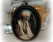 Gothic Jewelry Skeleton Necklace Edgar Allen Poe Horror Jewelry Gift for Halloween Lover