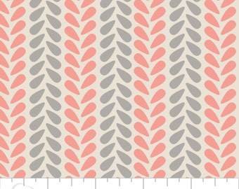 Zoey from Camelot Cottons - Full or Half Yard Knit Stitch in Zinc - Modern Coral Pink, Gray, and Cream