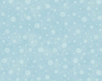 "Wise One Flannel from Henry Glass - 1 Yard 26"" End of the Bolt - Light Teal Blue Dot Falling Snow - Winter Blue"