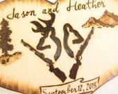 DEER Hunting cake topper -Buck and Doe, Deer Heads, Camo Wedding Decor,Guns Hunting Anniversary-Personalizable