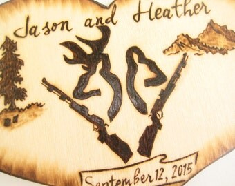 DEER Hunting cake topper -Buck and Doe, Deer Heads, Camo Wedding Decor,Guns Hunting Anniversary-Personalizable