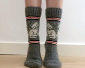 READY TO SHIP Grey Wool Socks White Kitty Cat Fun Unique Colorwork Quirky