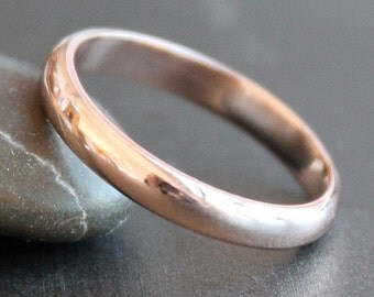 14K Solid ROSE Gold Ring - 3mm Simple Band - Classic Unisex Wedding Band (Size 3 - 12) - 3x1.5mm Half Round