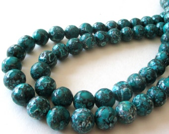 """Mosaic Round Beads - Teal Green Howlite Gemstone - Round Ball Mosaic - 10mm -  16"""" Strand - Natural Stone Beads -DIY Jewelry Making"""