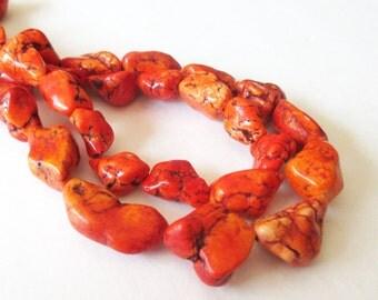 "Orange Nugget Beads - Tangerine Orange Magnesite Nugget Beads - Extra Chunky Gemstone Beads - Dark Matrix - 16"" Strand - Diy Jewelry Making"