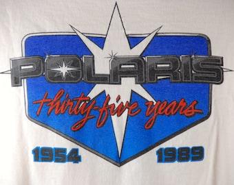 1989 POLARIS Long Sleeve Tee with Snowboard Motif, Polaris 35 Year Anniversary