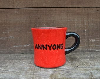 Annyong - 12-14 oz. Capacity - Arrested Development Quote - Handpainted Ceramic Coffee Mug - Red and Black