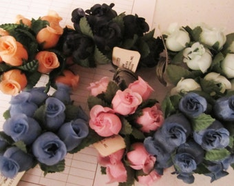 DESTASH /// 7 bundles of 12 stems each, Small Rosebuds, Blue, Sea Foam and Navy, Millinery flowers, wedding, dolls, cake/cupcake decorating