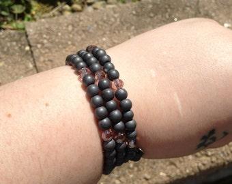 Hematite and Chinarovski Bracelet - memory wire -