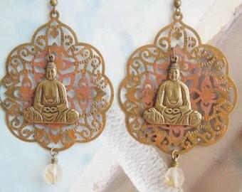 Serene Sitting Buddha Filigree Earrings