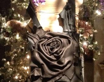 showdiva designs Asymmetrical Black Deerskin Leather Bag Purse LoNg FriNgE n Hand Sculpted Flowers