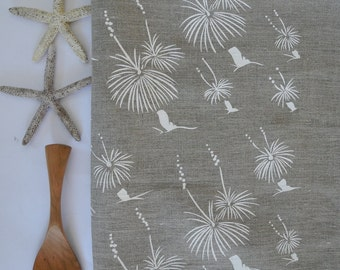 Linen Tea Towel Screen Printed Linen Tea Towel Hand Printed Tea Towel White&Natural Australian Grass Tree