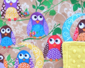 "Baby Lovey - Colorful Owls on Tan Flannel with Bright Yellow Dimple Minky, 16"" X 16"""