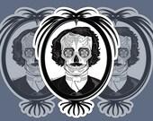 Edgar Allen Poe Sugar Skull 3x4 Vinyl Sticker