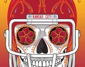 Kansas City Chiefs Sugar Skull 11x14 Print