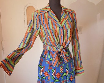SPECIAL Vintage 70's Two Piece Skirt and Shirt Set, A Line Skirt, Tie Front Striped Shirt,  Ethnic Geometric Print, Blue, Small, Bust 36