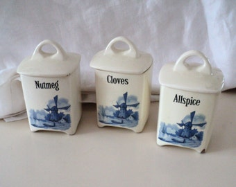 3 Vintage Windmill Blue and White Spice Canisters. Nutmeg Allspice Cloves