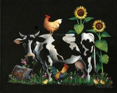 "Cow and Chickens  Original Acrylic Painting    8"" X 10"" Small Format Art"