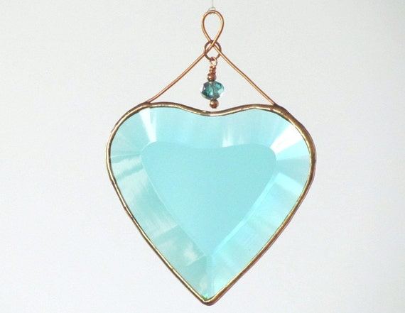 Turquoise and Copper Beveled Glass Heart Suncatcher with Beads