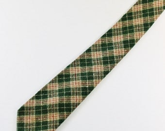 Wool Plaid Necktie / Green Khaki Plaid Tie / Vintage / Mens Necktie / GOGOVINTAGE