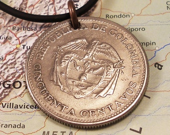 Colombia, Vintage Coin Necklace - - Libertad y Orden - - World History - Travel - Large Coin - 1959