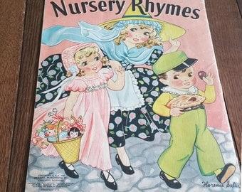 "NURSERY RHYMES LINEN Book, 1939, Art by Florence Salter,Merrill Publishing, 10"" x 13"" Frameable Artwork, Vintage Children's Book"