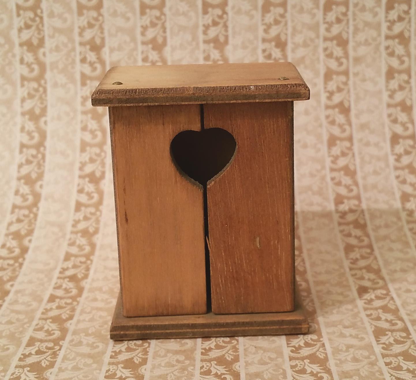 Miniature Wood Cupboard Heart Embellishment Vintage