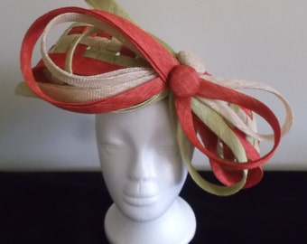 Checkerboard Design Fascinator (Light Green, Red & Natural)