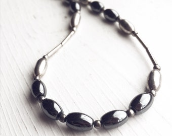 Silver and Hematite Vintage Beaded Necklace