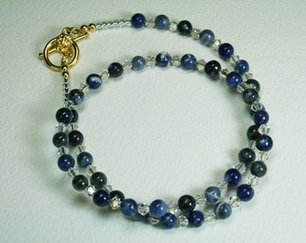 Sodalite Gemstone Necklace Swarovski Crystal Necklace - Perfect for a Wedding (has matching earrings available separately)