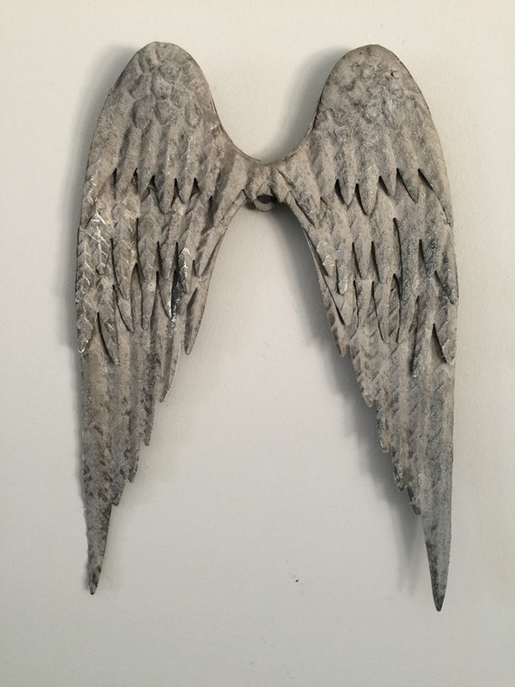 11 grey metal tin wings large vintage distressed for Angel wall decoration
