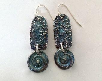 boho chic earrings, silver earrings, ancient relics, sunken treasure, shell earrings, modern relics, nautilus earrings, blue gray earrings