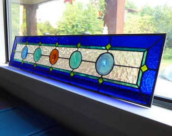 Custom Sidelight Stained Glass Panel - Rondel Sidelights