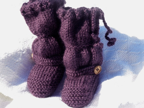 "The Original ""BootLeggers"" Knitted Plum Ruched Baby Girl Boots/Legwarmers Combination"
