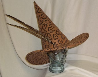 Leopard Witch Hat- Felt Hat with Wired Brim and Optional Pheasant Feathers