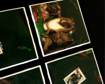 """SALE - Dogs Playing Poker - Drink Coasters - Great Gift Idea - Ceramic Tile & Fabric - Set of 4 - approx 4"""" x 4"""""""