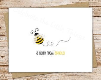 bumble bee note cards, notecards - set of 8 - folded personalized stationery, stationary - teacher gift