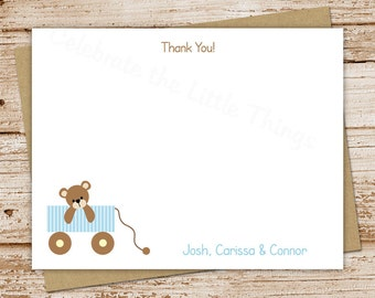 teddy bear wagon .  baby boy thank you cards . flat personalized note cards . stationery stationary . blue wagon . baby shower . set of 10