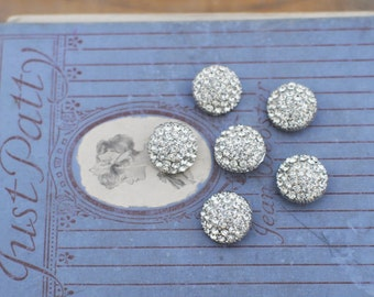 Vintage Rhinestone Button Lot 3/4 Inch Set of 6 Buttons