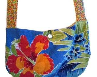 Beach Towel Hobo Bag, Beach Hobo Bag, Hibiscus Hobo Bag, Summer Hobo Bag, Hawiian Hobo Bag