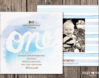 One Year Birthday Invitation, Made to Order, Custom, Baby Boy - 5.25 x 5.25in