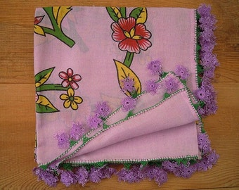 lilac scarf, needle lace edging, cotton, oya scarf