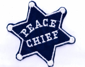 Rare Peace Chief Star Badge Velveteen Vintage Sewing Patch Applique 1970's