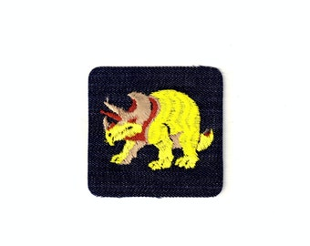 Dinosaur Triceratop Retro Vintage Patch Applique