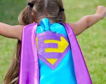 Ships Fast - Girls Halloween Superhero Costume Cape - Sparkle PERSONALIZED GIRL SUPERHERO Cape - Custom Initial - 6 color choices