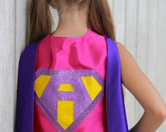 Ships Fast - Girls Sparkle Custom LETTER SUPERHERO CAPE - Custom Initial - 7 color choices - Kids Halloween Costume