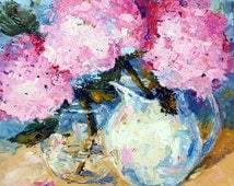 Orignal Impressionist Floral oil painting, Pink Hydrangeas floral still life original palette knife oil painting, summer flowers,12x12 inch