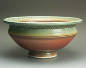 Handmade porcelain brick red and blue green salad serving bowl 2 qt. 2275