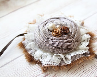 Morning Ambles brown linen ruffle rosette with lace and flower accents