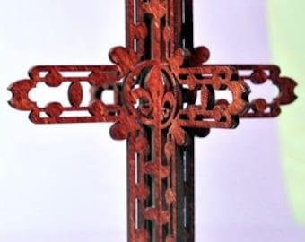 3-D Wood Fleur De Lis Cross Ornament